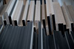 Деревянная предпосылка украшения геометрии стены, абстрактная предпосылка Стоковые Фотографии RF