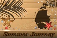 Деревянная предпосылка лета с seashells, морскими звёздами, кораблем Стоковое фото RF