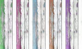 Деревянная предпосылка текстуры стены покрашенный зеленый цвет, пинк, голубой; коричневый цвет Стоковая Фотография RF