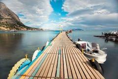 Деревянная пристань в Португалии Стоковая Фотография