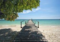 Деревянная пристань в тропическом пляже Стоковые Фото