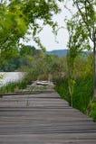 Деревянная пристань на Дунае 2 Стоковое Изображение