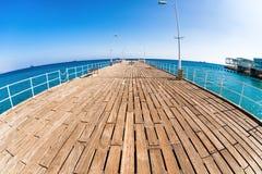 Деревянная пристань на прогулке набережной Лимасола Кипр Стоковое Фото