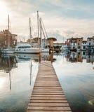 Деревянная пристань, порт Grimaud, Франции Стоковая Фотография