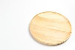 Деревянная плита или изолированная подносом белая предпосылка Стоковое Изображение RF