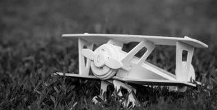 Деревянная плоская игрушка на траве Стоковая Фотография