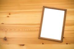 Деревянная рамка на насмешке таблицы вверх Стоковое Фото