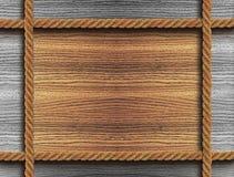Деревянная рамка с 4 веревочками Стоковые Фото