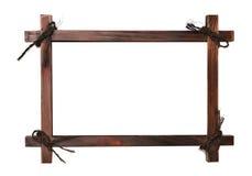Деревянная рамка с шнурками Стоковое Изображение