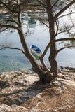 Деревянная ретро красочная рыбацкая лодка Стоковые Фотографии RF