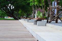Деревянная скамья в парке города Стоковое Изображение RF