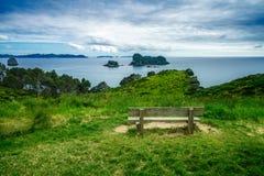 Деревянная скамья в траве на бухте собора, coromandel, Новой Зеландии 1 стоковая фотография rf