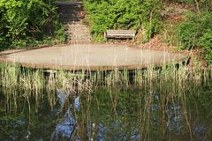 Деревянная скамья на пруде среди кустов и trees2 Стоковые Изображения