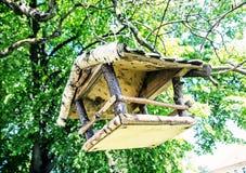 Деревянная смертная казнь через повешение дома птицы на дереве, голубом фильтре Стоковые Фото
