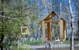 Деревянная смертная казнь через повешение фидера птицы на ветви зеленого дерева Концепция заботы природы Стоковая Фотография RF