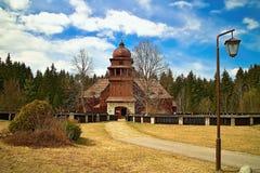 Деревянная сочленовная евангелическая церковь в Liptovsky Kriz стоковое изображение rf