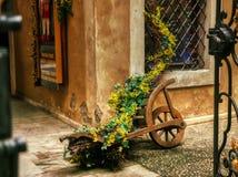 Деревянная средневековая тележка цветка украсила стоковое изображение rf