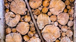 Деревянная стена журнала в сельской местности Стоковые Изображения RF