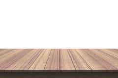 Деревянная столешница на изолированной белой предпосылке Стоковые Фотографии RF