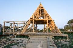 Деревянная структура здания конструкция дома деревянной рамки стоковая фотография rf