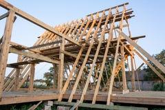 Деревянная структура здания конструкция дома деревянной рамки стоковые фотографии rf