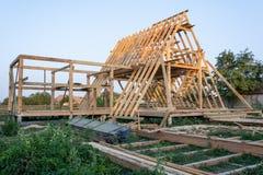 Деревянная структура здания конструкция дома деревянной рамки стоковые изображения rf