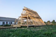 Деревянная структура здания конструкция дома деревянной рамки стоковое фото rf