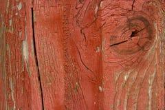 Деревянная структура с, котор слезли красной краской Стоковые Фото