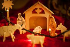 Деревянная сцена рождества Иисуса Христоса младенца Стоковая Фотография