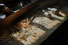 Деревянная таблица мастерской Стоковая Фотография RF