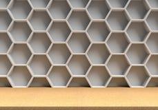 Деревянная таблица и белая предпосылка шестиугольников Стоковое Изображение