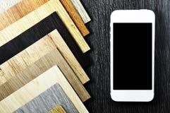 Деревянная текстура Настольный компьютер архитектора и оформителя дома внутреннего с Стоковое Изображение