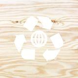 Деревянная текстура с рециркулирует символ Стоковые Фото