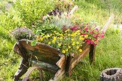 Деревянная тележка двора с цветками Стоковая Фотография RF