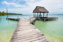 Деревянная тропа на карибском море в Панаме Стоковые Изображения
