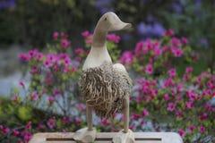 Деревянная утка с цветками Стоковое Фото
