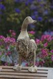 Деревянная утка с цветками Стоковая Фотография RF