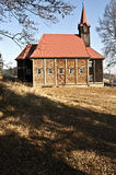 Деревянная церковь на Grun в горах Moravskoslezske Beskydy Стоковое фото RF