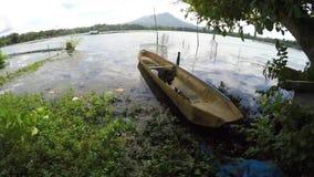 Деревянная шлюпка строки плавая на загрязнянное озеро сток-видео