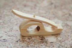 Деревянная handmade игрушка - вертолет самолета Стоковые Изображения RF