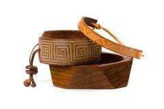 деревянное браслетов кожаное Стоковое Фото
