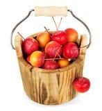 Деревянное ведро вполне яблок рая изолированных на белизне Стоковые Изображения RF