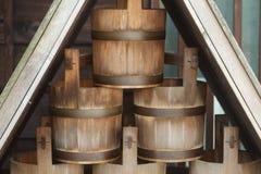Деревянное ведерко для опасностей пожара Стоковое Изображение RF
