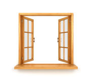 Деревянное двойное раскрытое окно изолированным Стоковые Изображения RF