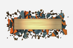 Деревянное знамя с абстрактным орнаментом на белой предпосылке Стоковое Изображение RF