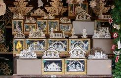 Деревянное искусство fretwork в стойле на рынке Xmas, Штутгарте стоковая фотография