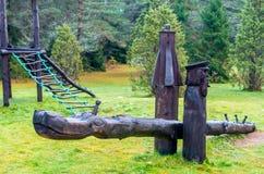 Деревянное качание на зеленом луге Стоковые Фото