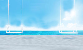 Деревянное качание с видом на море салона пляжа и голубым renderin sky-3d Стоковое Изображение
