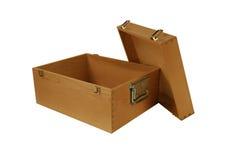 деревянное коробки открытое Стоковые Изображения