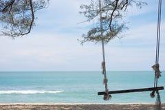 Деревянное колесо ferris свяжите на ветвях сосны и имейте пляж, море, b Стоковая Фотография RF